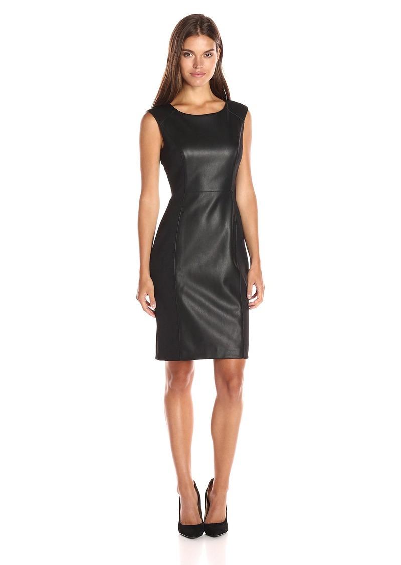 Calvin Klein Women's Cap Sleeve Sheath Dress with Pu Insert