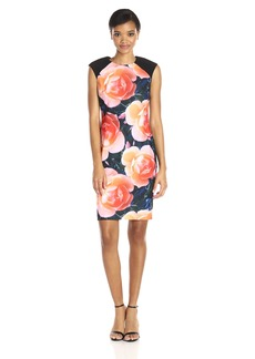 Calvin Klein Women's Cap Sleeve Shift Dress in Big Floral Print