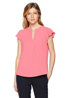 Calvin Klein Women's Cap Sleeve Solid Top with V-Neck  L