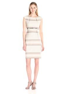 Calvin Klein Women's Cap-Sleeve Striped Belted Sheath Dress