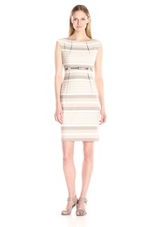 Calvin Klein Women's Cap-Sleeve Striped Belted Sheath Dress