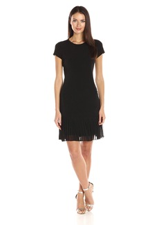Calvin Klein Women's Cap Sleeve T-Shirt Dress in Jersey Fabric with Pleating