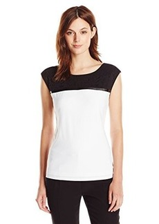Calvin Klein Women's Cap Sleeve Top W/ Lace