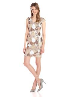Calvin Klein Women's Cap Sleeve V-Neck Multi Color Floral Sequin Sheath Dress