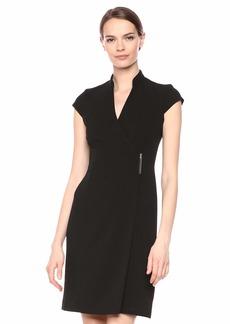 Calvin Klein Women's Cap Sleeve V-Neck Wrap Dress with Hardware