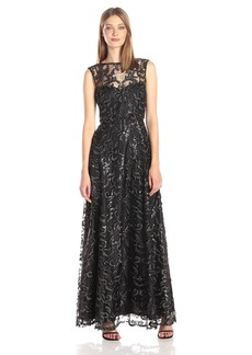 Calvin Klein Women's Long Cap Sleeve Sequin Gown