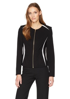 Calvin Klein Women's Center Zip Jacket with Contrast