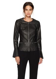 Calvin Klein Women's Center Zip Jacket with Flare Sleeves  XS