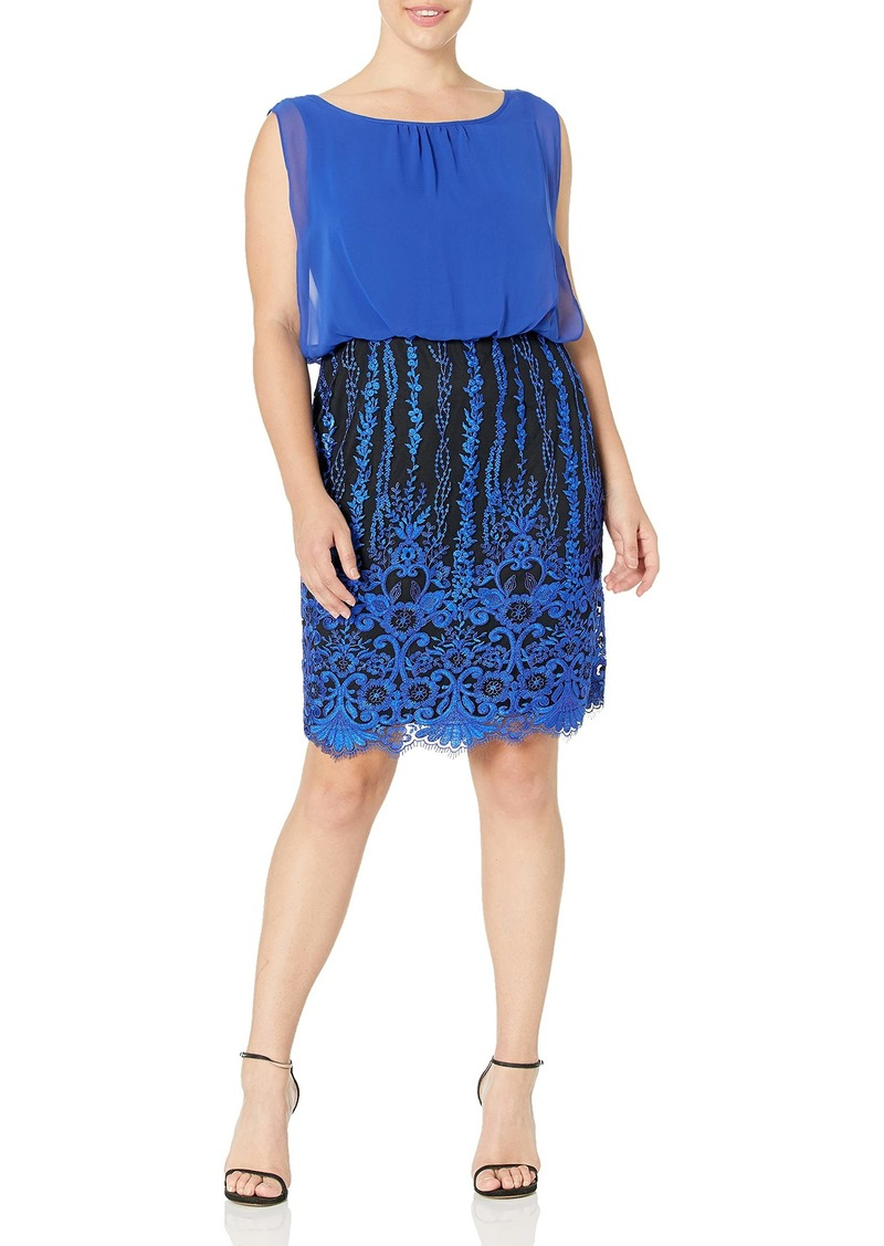Calvin Klein Women's Chiffon Blouson Dress with All Over Embellished Skirt