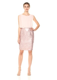 Calvin Klein Women's Chiffon Blouson Dress with All Over Embellished Skirt
