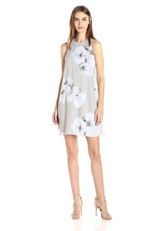 Calvin Klein Women's Chiffon Floral Trapiz Dress