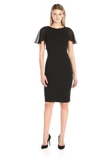 Calvin Klein Women's Chiffon Flutter Sleeve Sheath Dress