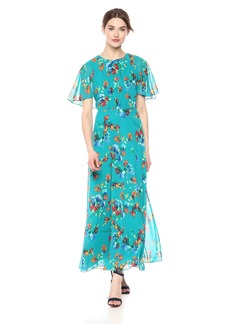Calvin Klein Women's Chiffon Maxi Printed Caplet Dress