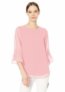 Calvin Klein Women's Chiffon Ruffle Sleeve Blouse