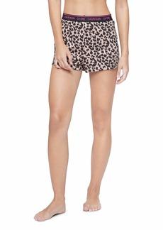 Calvin Klein Women's CK One Cotton Sleep Short Sketched Leopard Print_Honey Almond M