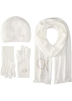 Calvin Klein Women's Ck Skinny Scarf/Studded Logo Beanie