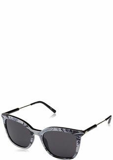Calvin Klein Women's Ck3204s Square Sunglasses STRIPED BLACK/WHITE