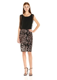 Calvin Klein Women's Cocktail Dress with Chiffon Bodice and Sequin Skirt