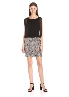 Calvin Klein Women's Sleeveless Round Neck Chiffon Bodice with Sequin Skirt