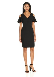 Calvin Klein Women's Cold Shoulder Flutter Sleeve Dress