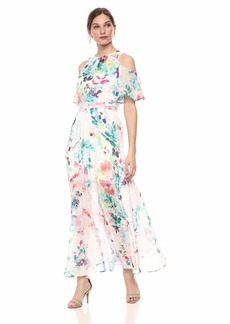 Calvin Klein Women's Cold Shoulder Maxi Dress with Self-Sash Waist