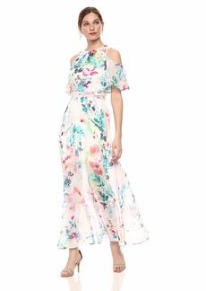 Calvin Klein Women's Cold Shoulder Maxi Dress with Self-Sash Waist