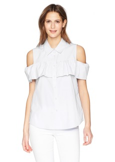 Calvin Klein Women's Cold Shoulder Ruffle Blouse  L