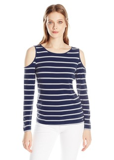 Calvin Klein Women's Cold Shoulder Striped Top  L