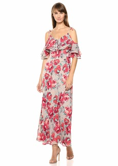 Calvin Klein Women's Cold Shoulder V-Neck Chiffon Maxi Dress