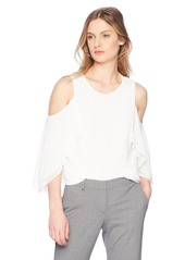 Calvin Klein Women's Cold Shoulder with Ruffle Sleeve  M