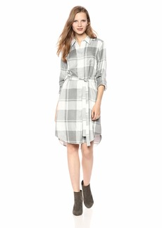 Calvin Klein Women's Collared Shirt Self Belt Dress