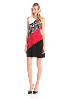 Calvin Klein Women's Color and Print Block Trapiz Dress