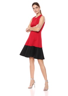 Calvin Klein Women's Color Block Fit and Flare Dress red/Black
