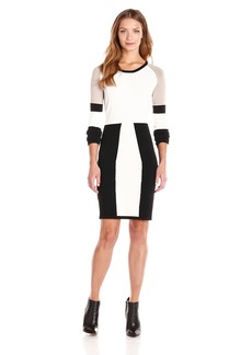 Calvin Klein Women's Color Block Long Sleeve Sweater Dress