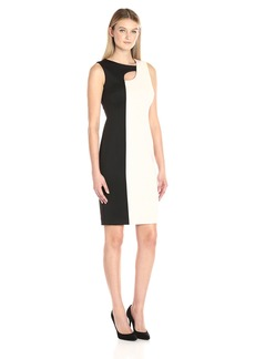 Calvin Klein Women's Color Block Sheath Dress with Neck Cut Out