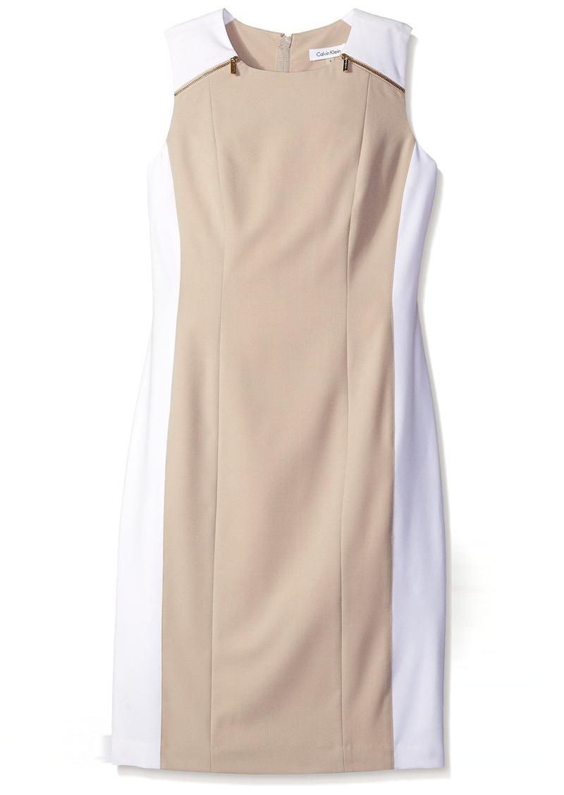 Calvin Klein Women's Color-Block Sheath Dress with Zip