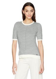 Calvin Klein Women's Color Block T Shirt Heather DOV/WWT M
