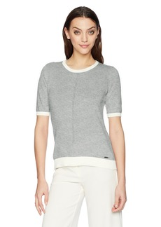Calvin Klein Women's Color Block T Shirt Heather DOV/WWT M