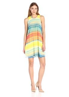 Calvin Klein Women's Multi Color Blurred Stripe Trapiz Dress