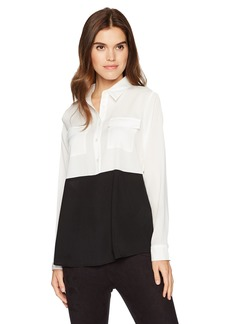 Calvin Klein Women's Colorblock Button Down Tunic  L