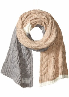 Calvin Klein Women's Colorblock Cable Scarf heathered almond O/S
