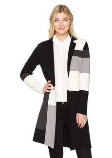 Calvin Klein Women's Colorblock Knit Jacket BK/Crm/TN/Cha L