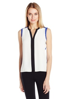 Calvin Klein Women's Colorblock Top with V-Neck  M