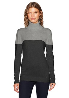 Calvin Klein Women's Colorblock Turtleneck Granite/Heather Charcoal XS