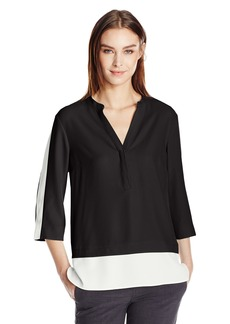 Calvin Klein Women's Colorblocked Two-Fer Blouse  L