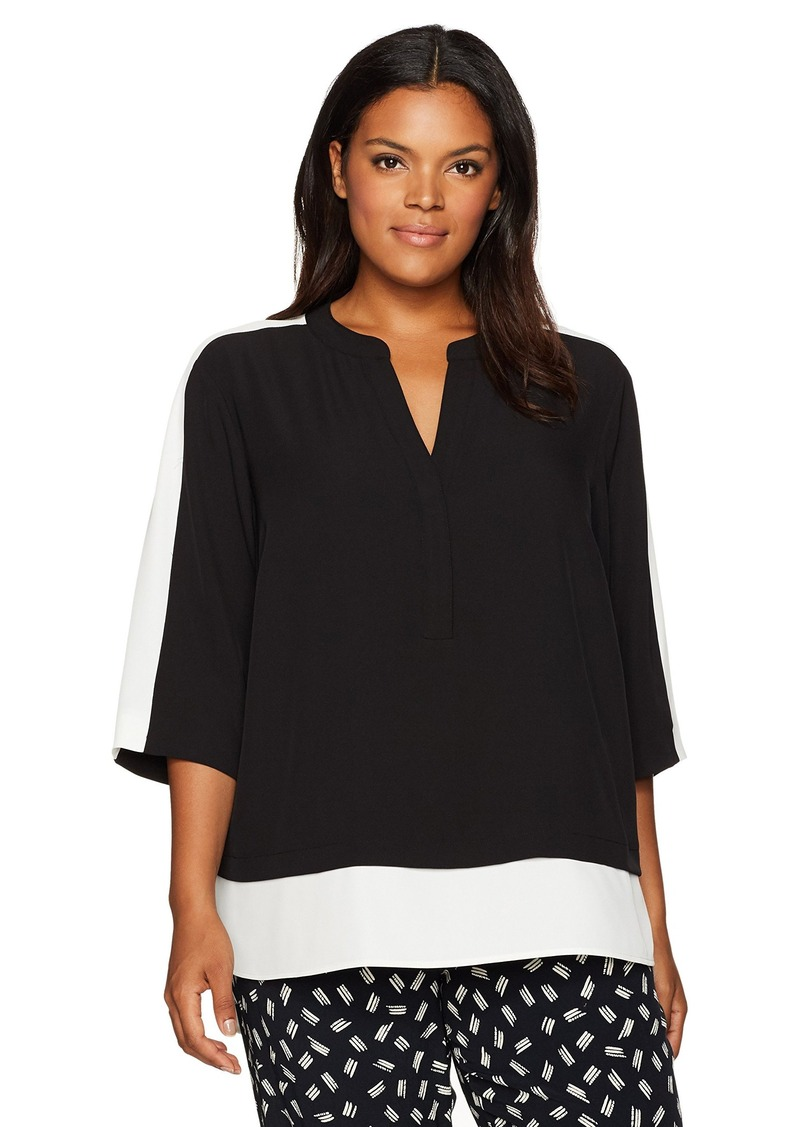 Calvin Klein Women's Colorblocked Two-Fer Blouse  XL