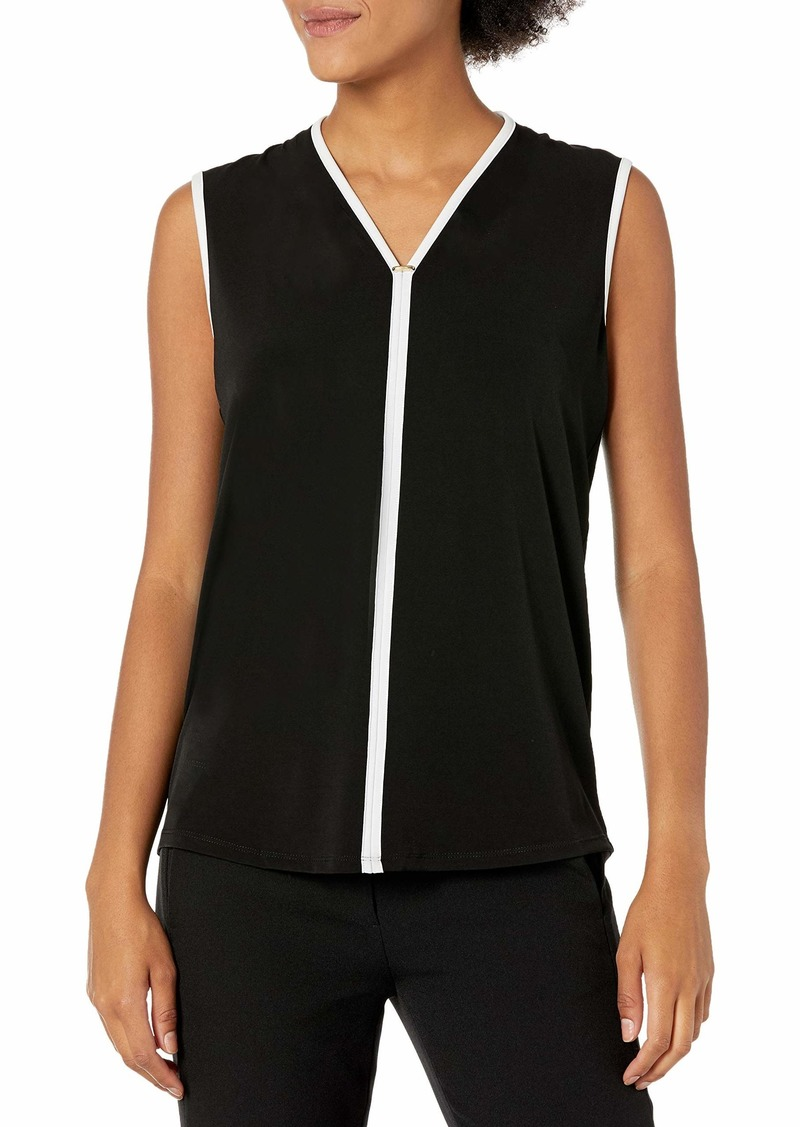 Calvin Klein Women's Contrast Piping TOP with Hardware black M