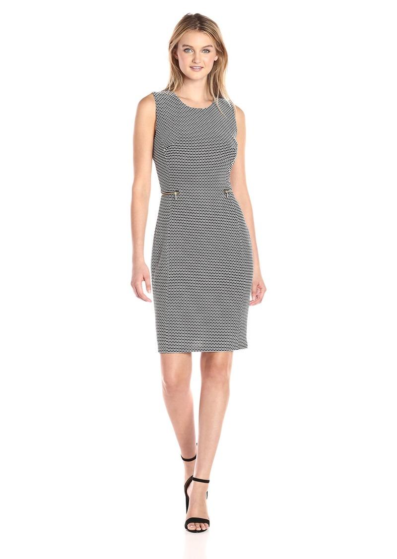 Calvin Klein Women's Contrast Textured Sheath Dress