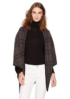 Calvin Klein Women's Contrast Trim Knit Triangle Wrap Accessory -black