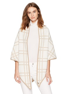 Calvin Klein Women's Contrast Trim Knit Triangle Wrap Accessory -cream